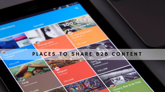 places to share b2b content header
