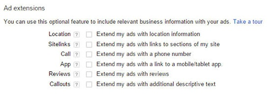 select-ad-extensions-adwords