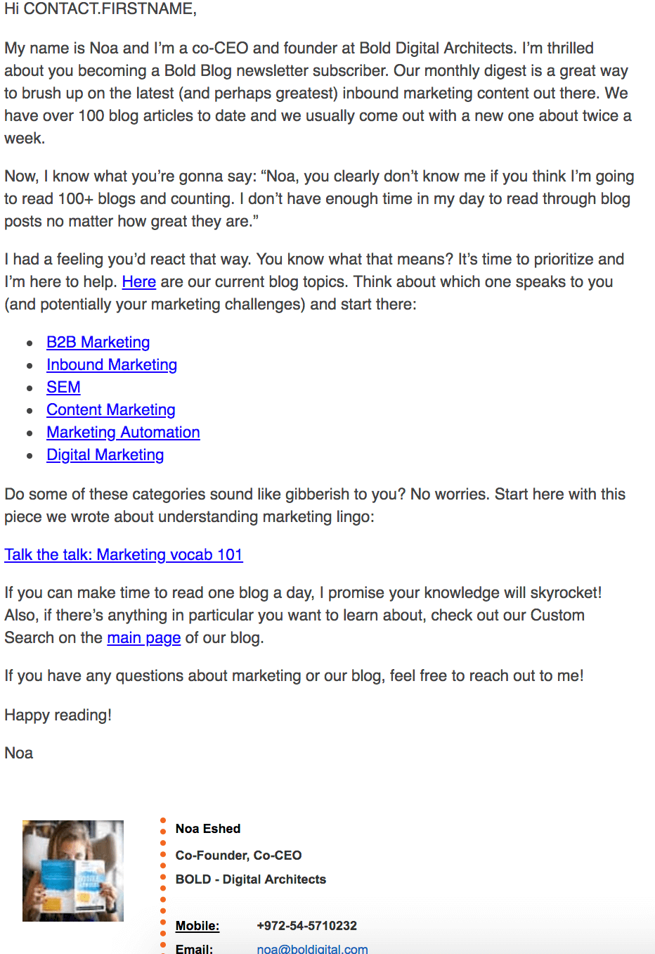 an example of an email a new blog subscriber receives