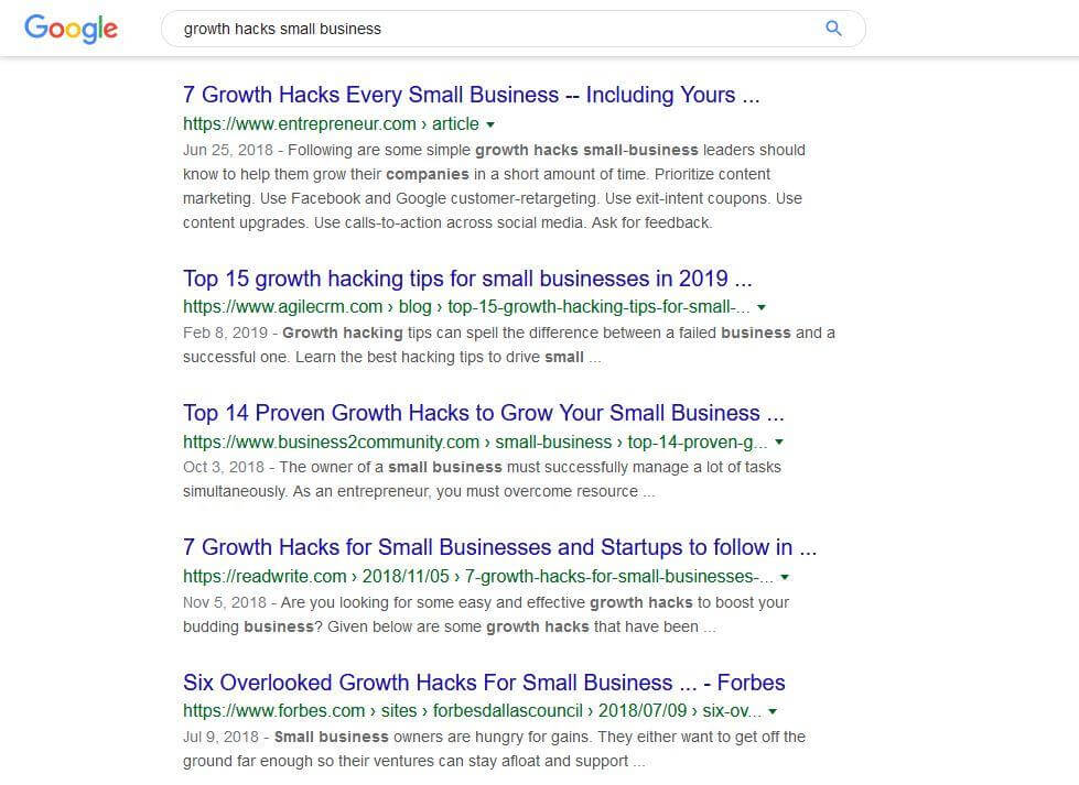 google search results page screenshot for growth hacks small business screenshot