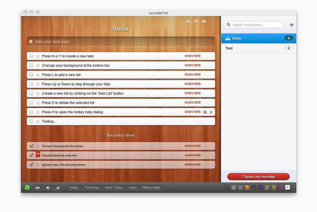 Wunderlist inbox